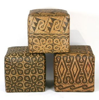 Visit Walter Zabriskie for these stylish and versatile 18-20″ poufs made of handwoven rattan mats from Borneo.    Via Elle Decor, June 2011.