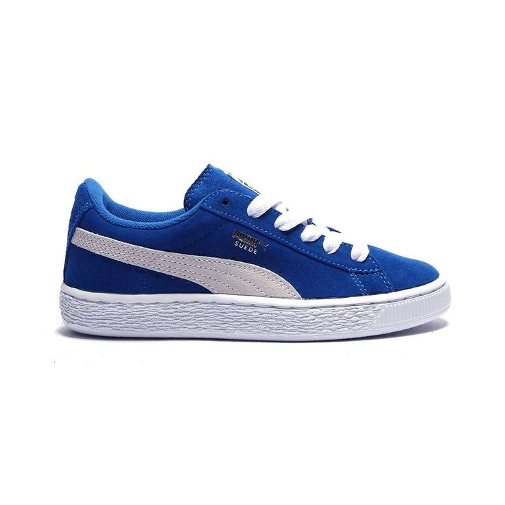 PUMA Suede Junior Sneaker (Little Kid/Big Kid) , Snorkel Blue/White, 11 M US Little Kid. Classic suede sneaker with signature Formstrip and perforated detailing at midfoot. Removable Kinder-Fit sockliner and cushioned midsole. Non-marking rubber outsole.