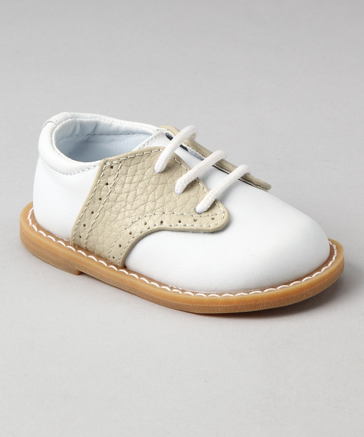 White & Tan Pebble Leather Oxford by Baby Deer on #zulily    yup... going to have to buy these too!!