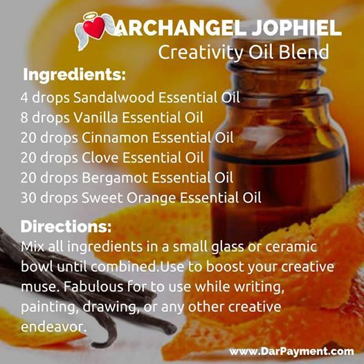 Archangel Jophiel Creativity Oil Blend. Use to boost your creative muse. Fabulous for to use while writing, painting, drawing, or any other creative endeavor. #archangels, #archangel jophiel, #essential oils