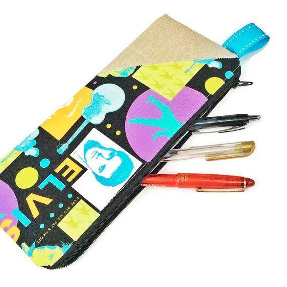 Fabric Pencil Case / Elvis Pencil Case by BellflowerTextiles