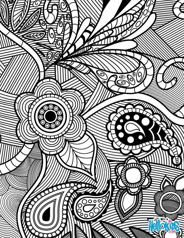 Flowers & Paisley Design coloring page Allows you to be able to color online or print for free. Great site