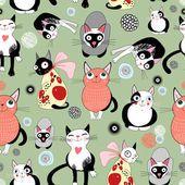 Текстура смешные кошки — стоковый вектор #11492447