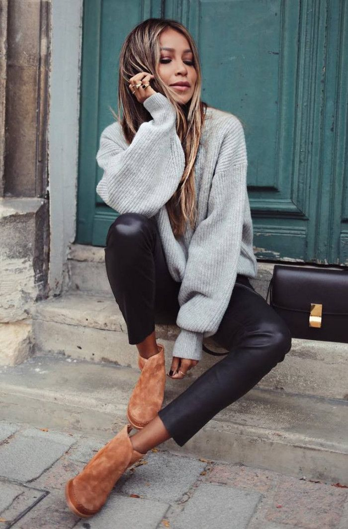 30 Great Outfits With Sweaters To Wear This Winter | Grey