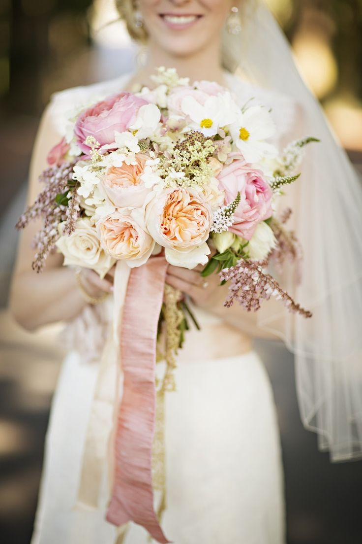 Blush Peach Gold Anthropologie Inspired Wedding Garden Flower Bouquets Http
