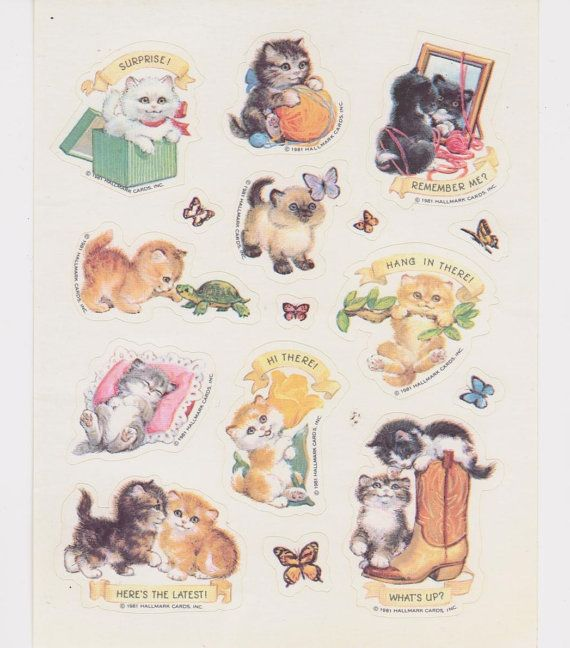 Hallmark vintage kitty cat sticker sheet 1981 by rosiesstickers 7 99