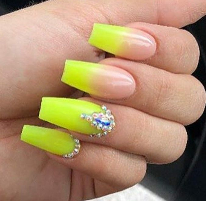 Neon Nails Ombre Nails Nails With Rhinestones Acrylic Nails