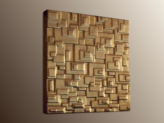 Gold Leaf Wall Sculpture  Gold Wall Panel  Modern by JeemadoDecor