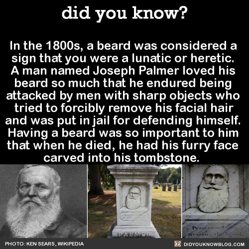 In the 1800s, a beard was considered a sign that you were a lunatic or heretic. A man named Joseph Palmer loved his beard so much that he endured being attacked by men with sharp objects who tried to forcibly remove his facial hair and was put in...