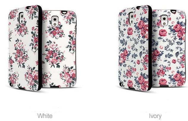 FLORAL IP FLOWER BUMPER GIRLY CASE FOR GALAXY NOTE 4