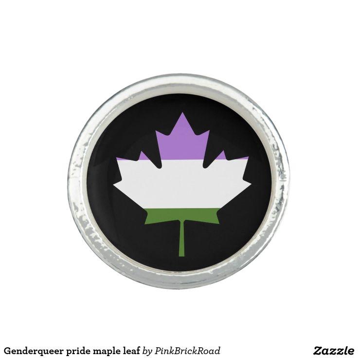 Genderqueer pride maple leaf rings