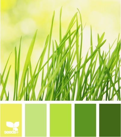 I would love these as a wedding palet Color: Grassy Brights by Design Seeds - yellow green, light green, bright green, medium green, deep green.