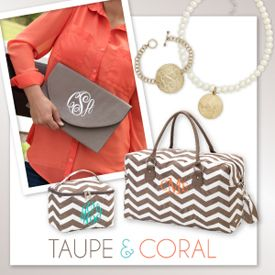 Taupe and Coral monogram chevron, bracelet, necklace, duffle bag, makeup,  envelope