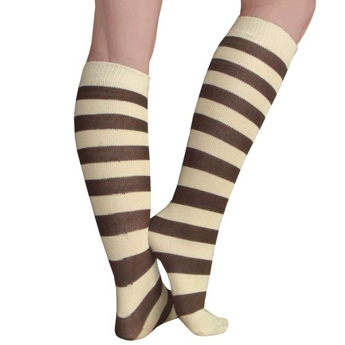 Tan and brown striped socks. Neutral all purpose sock. Order Now