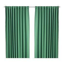 WERNA Block-out curtains, 1 pair, green - green - IKEA
