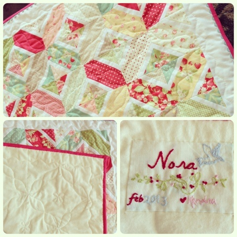 Kendra Made: Strawberry Nora Quilt... Love the quilt, quilting, and the label!
