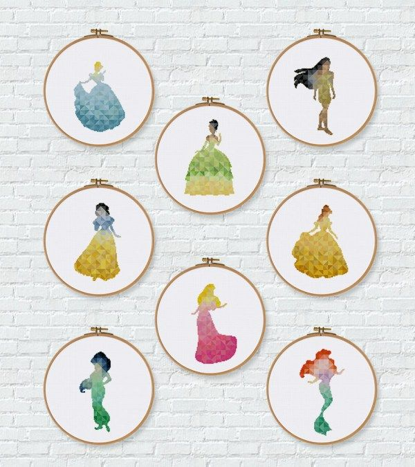 Disney cross stitch pattern geometric princess design Ariel Tiana Cinderella Snow White Aurora Pocahontas Jasmine Belle cross stitch kit by ritacuna thuhadesign