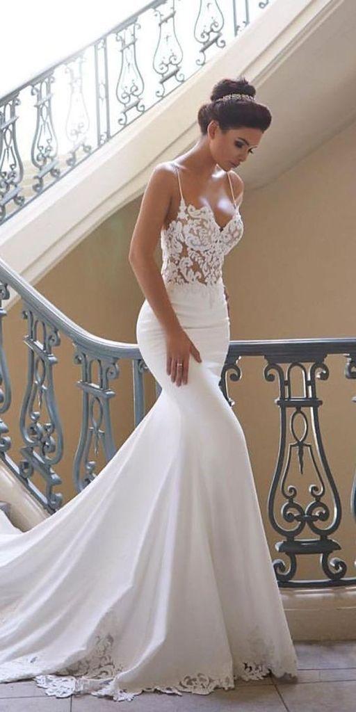Mermaid Ivory Spaghetti Straps V Neck Wedding Dresses Lace Satin Bridal Dresses …