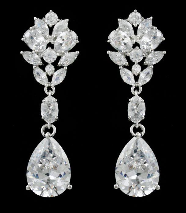 Multi Cut Cz Pear Drop Wedding Earrings In Pierced Or Clip On