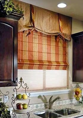 77 best images about window coverings on pinterest for Fabric shades for kitchen windows