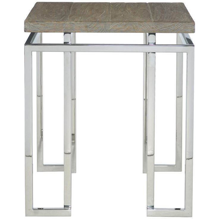 This energetic contemporary side table from Bernhardt Interiors brings a fresh update to a living room or family room. An intriguing mix of teak solids and vene
