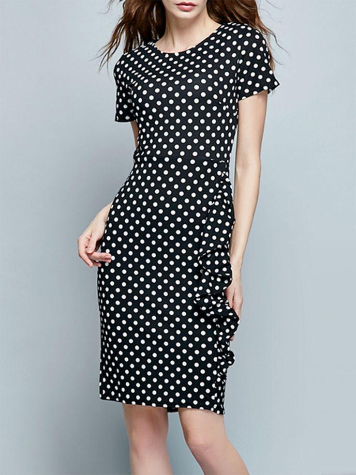 Absorbing Polka Dot Flounce Slit Bodycon-dress