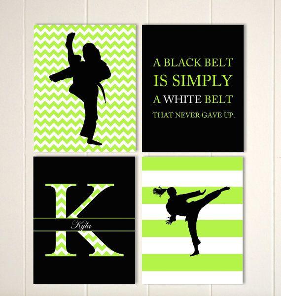 Girls wall art, karate girl wall art, girls martial arts, girls sports quotes, pre teen girl gift idea, custom colors and sports, set of 4