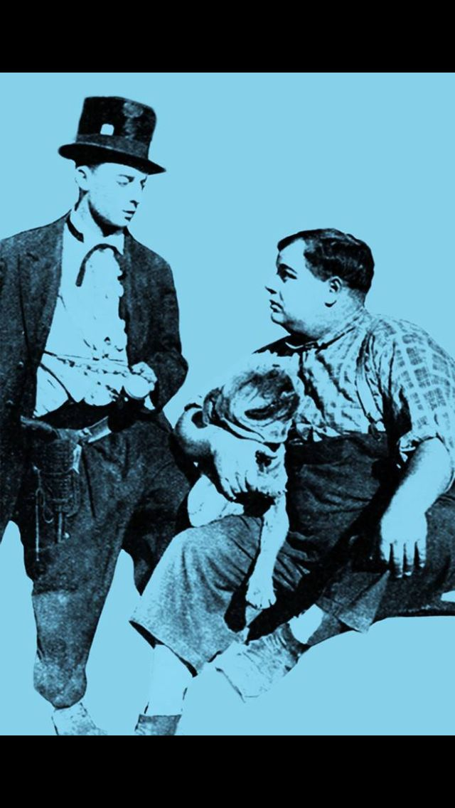 Buster Keaton & Roscoe Arbuckle - two major comedy stars of the silent era (also Luke the Pitbull)
