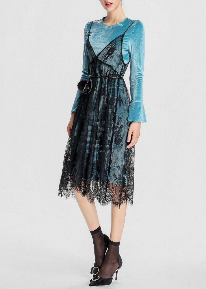 0f8cc0b9f8f APART Samtkleid mit Spitze Gr. 40 blau schwarz Abendkleid Cocktailkleid