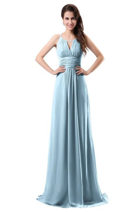 bb9fe7ee1f66f Ice Blue Simple Column Scoop Chiffon Ruching Bridesmaid Dresses