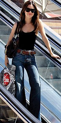 High waisted flare leg with huge belt looks great. I think she can pull out off better bc she's a little time than usu.