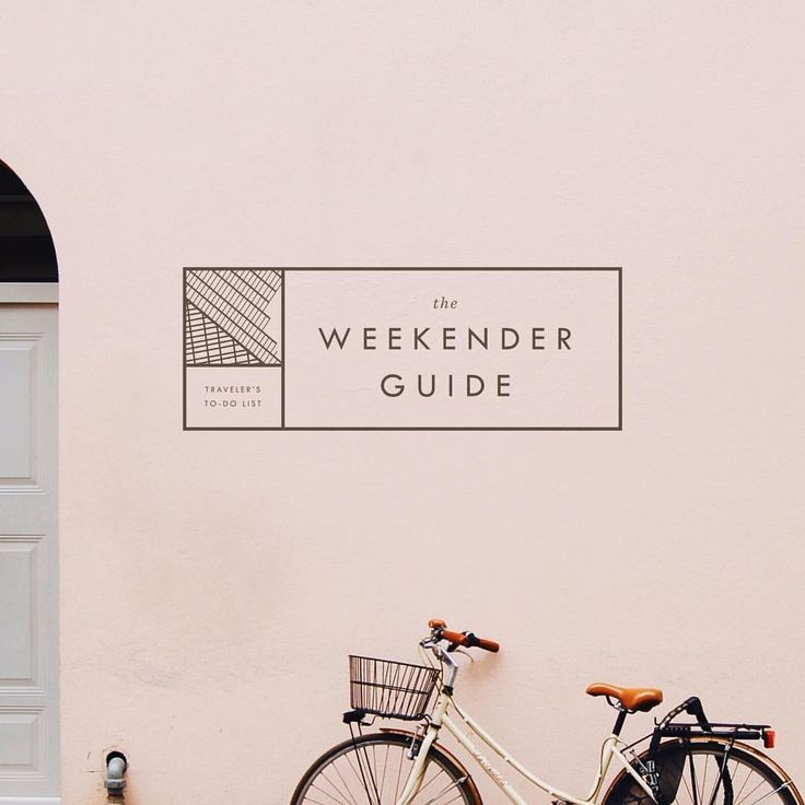 The Weekender Guide - Logo, typography and brand design inspiration. Pink and black. Sans serif and italic fonts. Geometric, line, minimal.