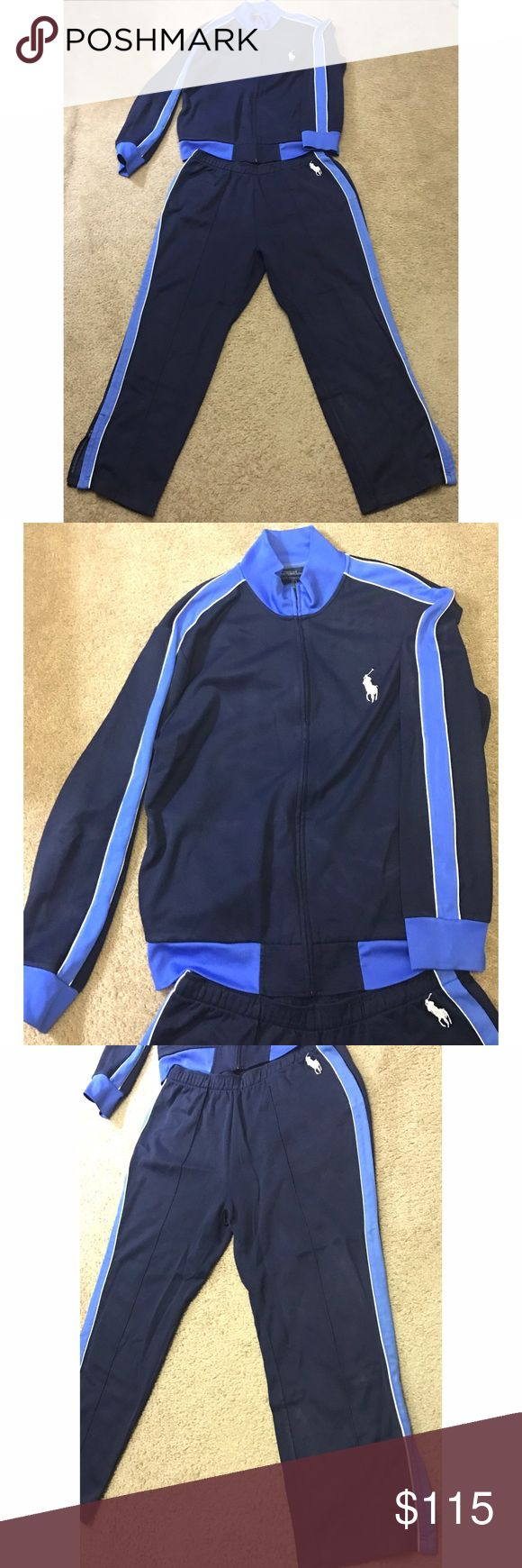 Polo tracksuit Navy blue and cobalt blue. Jacket and pants are a size XL. Worn only twice, excellent condition. Polo by Ralph Lauren Pants Sweatpants & Joggers