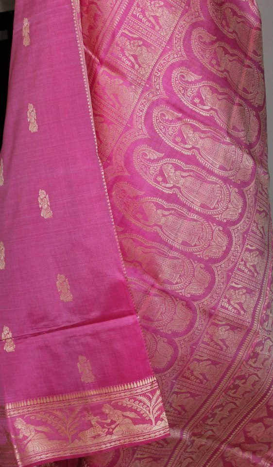 Pure silk Baluchari saree. For orders and inquiries, please mail us at naari@aninditacreations.com.  Like our page www.facebook.com/naari.aninditacreations