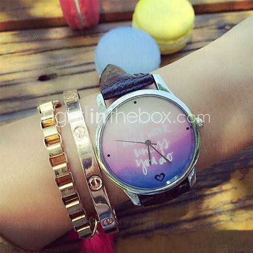 vintage mode streep geometrische patronen brief afdrukken horloges genève horloges voor vrouwen geschenken idee - USD $7.99