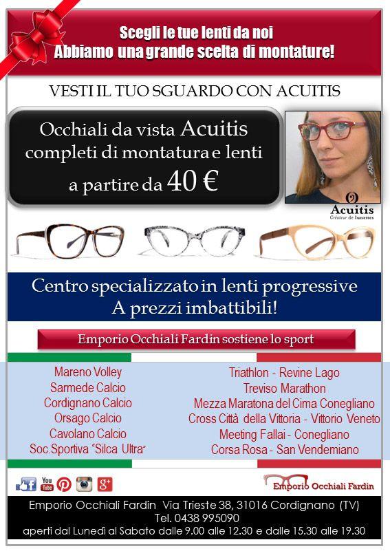 Fardin Promozione Acuitis 2015! Da Emporio Occhiali Fardin una imperdibile promozione sugli occhiali da vista. Se scegli una montatura della collezione Acuitis, puoi avere l'occhiale da vista completo a partire da 40,00 euro! Emporio Occhiali Fardin è anche Centro Specializzato in lenti progressive a prezzi imbattibili !  #emporioocchialifardin #fardin #lentiprogressive #eyewear #glasses #ottici #ottica #natale #natale2015