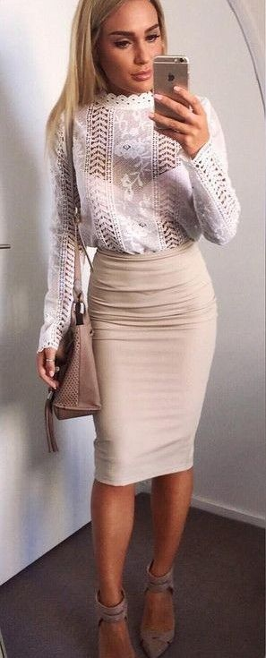 White Lace Top + Nude Pencil Skirt                                                                             Source