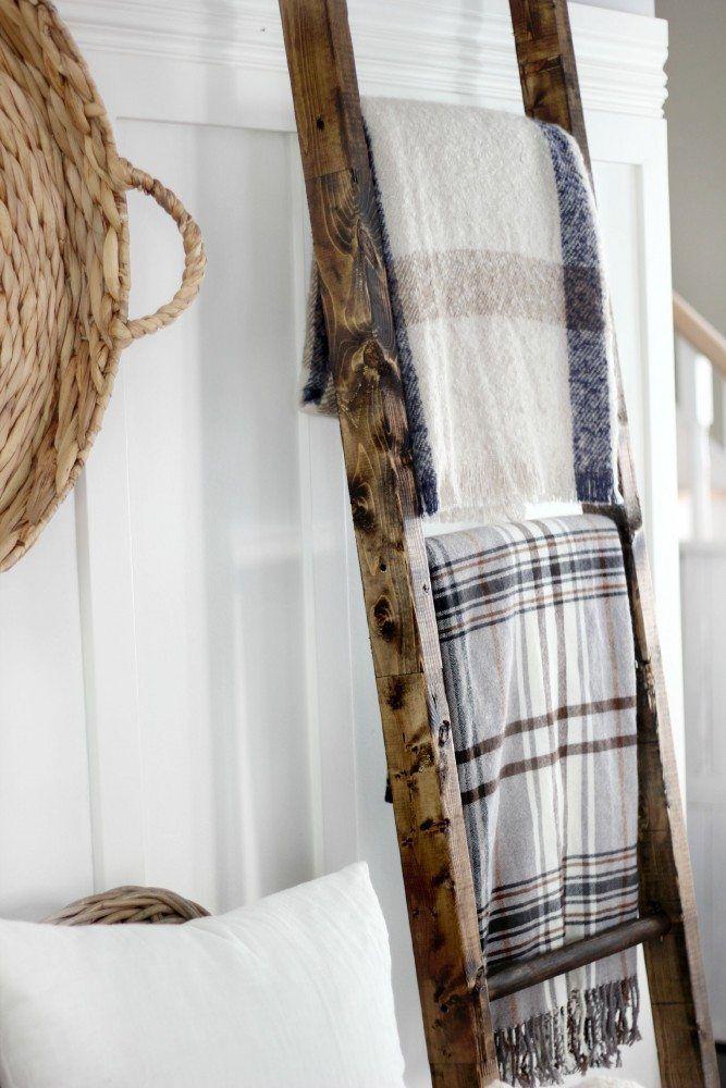 DIY blanket ladder from Magnolia Homes