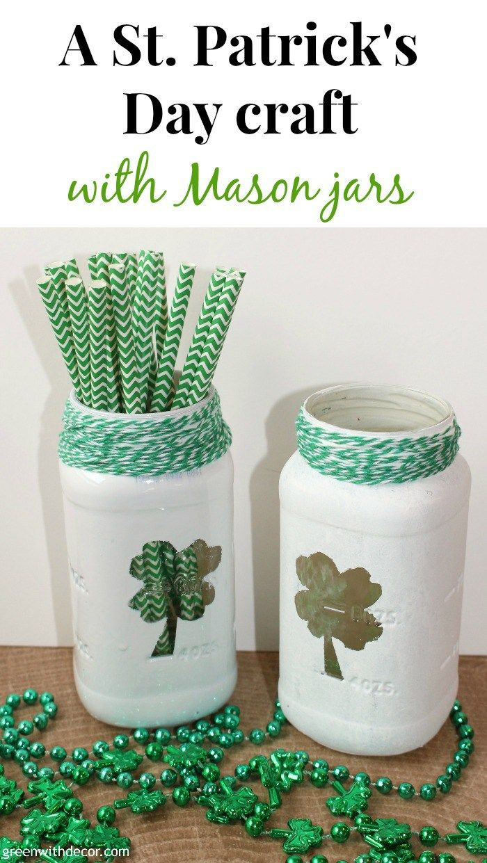 A fun St. Patrick's Day craft with Mason jars. How cute are these? And she used old spaghetti sauce jars instead of Mason jars, what a great idea!  | Green With Decor