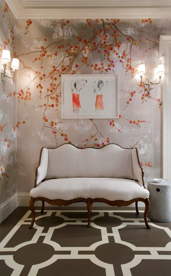 Plum Blossom paper on silver by de Gournay; from $832 per panel. degournay.com