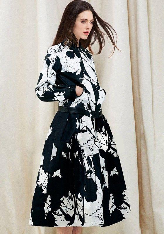 Black Floral Print A Type High Waist Skirt - Skirts - Bottoms