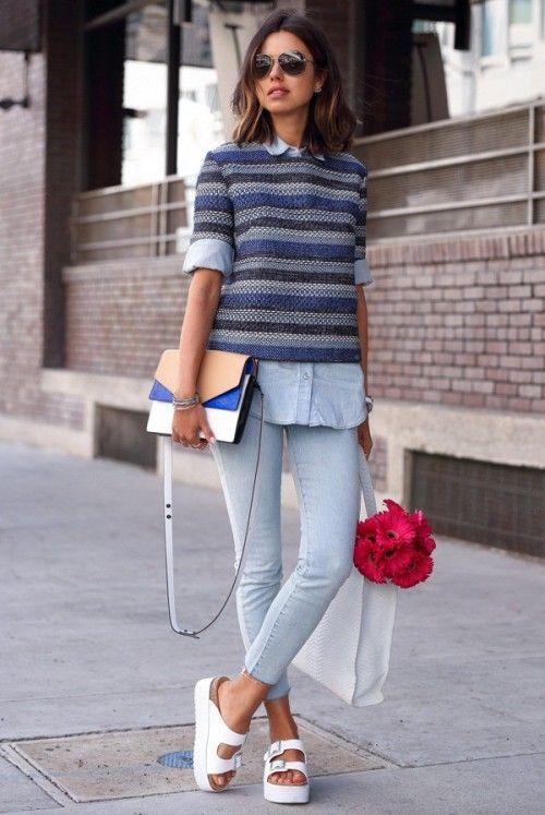 весеняя мода по-американски, модные вещи весна 2015, уличная мода весна 2015, вязаная мода, street style, knitwear, вязаный джемпер в яркую полоску (фото 1)