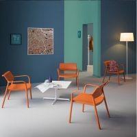 Pedrali Ara Lounge stoel Model 316 kunststof stoel met armleggers, leverbaar in 5 kleuren.  Pedrali Ara 316, 70 cm, 74 cm, 42 cm, polypropyleen, ja, 64 cm, 6 kg, wit, beige, antraciet, groen, oranje, 61 cm, ja, ja, nee
