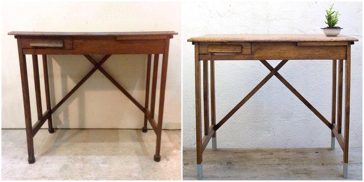 Antes y Después - Un escritorio infantil con patas dip dye de color gris - Studio Alis Barcelona