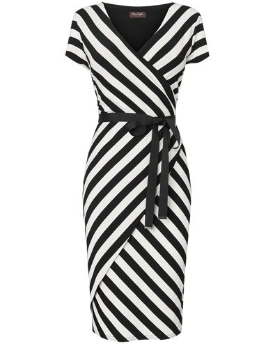 I like the length of this wrap dress and the stripe pattern is unique and interesting.