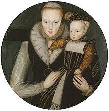 """Lady Catherine Grey, Countess of Hertford, and sister to the disposed """"Nine Days Queen, Lady Jane Grey"""" shown here with her eldest son, Edward."""