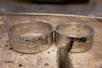White gold wedding rings, surface imitates birch bark