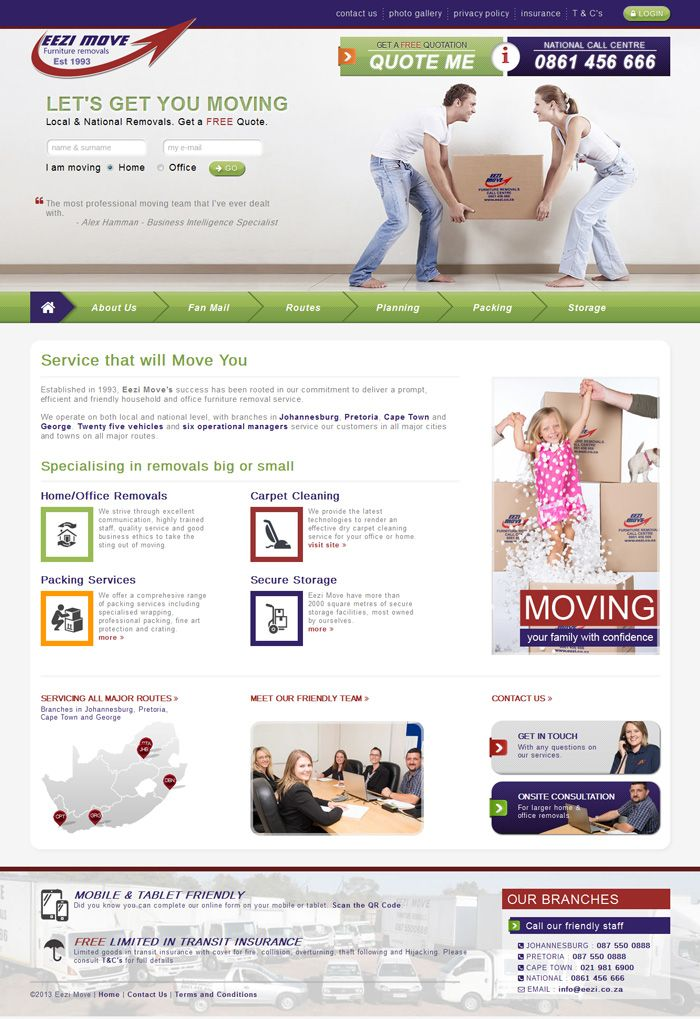 Having worked with Eezi Move for many years, getting to their know their business inside out, we recently developed their new mobile ready website with custom/bespoke online quotation software. Clients are now able to complete an online household inventory list, room by room, using a mobile phone or tablet.  Bespoke Design, Responsive: Mobile/Tablet, Bespoke Quotation Software, Website Hosting, Organic SEO, Google AdWords, Consulting & Support Visit the website: http://www.eezi.co.za
