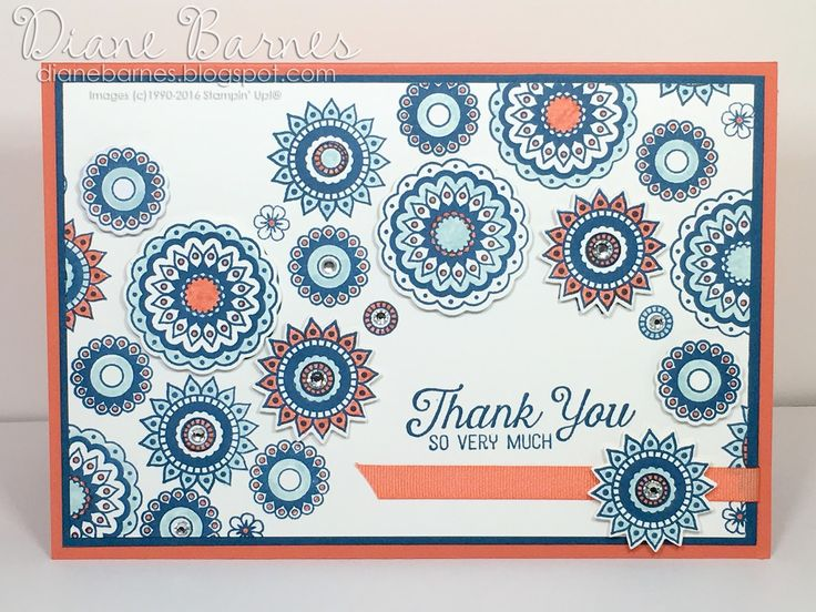 handmade thank you card using Stampin Up Paisleys & Posies stamp & die bundle from 2016 Holiday Catalogue. By Di Barnes #colourmehappy
