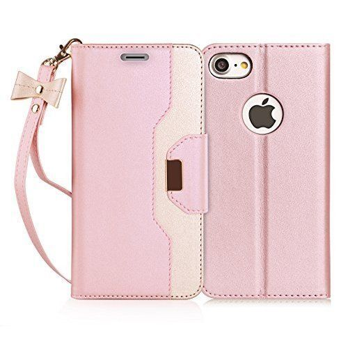 iPhone 7 Case Wallet Type Cover Premium w/ Makeup Mirror Rose Gold Girls iPhone7 #FY